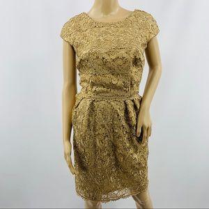 Alex Evenings Gold Crochet Cap Sleeve Dress